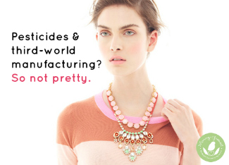 j crew model wearing orange top and pink beaded necklace