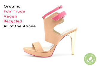 vegan stiletto shoe with pink strap