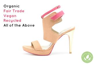 vegan stiletto shoe with pink strap