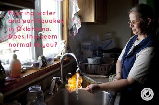 woman with fire coming out of her kitchen tap