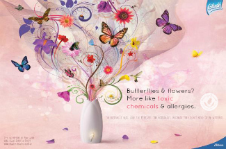 air freshener advertisement with flowers and butterflies coming out of the pot