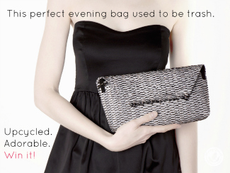 Model in black strapless dress holds silver clutch made from recycled plastic bags.