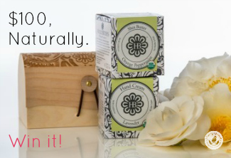 Organic skincare products with flowers and a wooden box