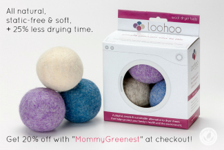 purple, blue and yellow wool dryer balls next to loohoos product box