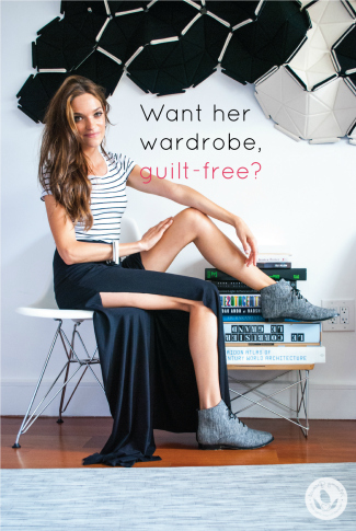 model seated on white chair, her foot up on a pile of books, wearing a long black skirt, striped top and gray shoes