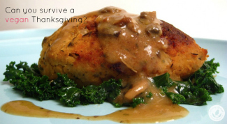 vegan turkey on bed of spinach with gravy