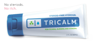tricalm gel on white background
