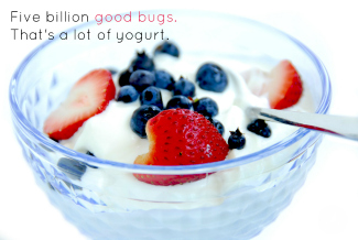 glass bowl of white yogurt topped with blueberries and strawberries