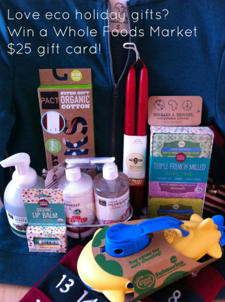 holiday gifts including bath soaps, candles, socks, sweatshirt, toys, soap all from Whole Foods Market