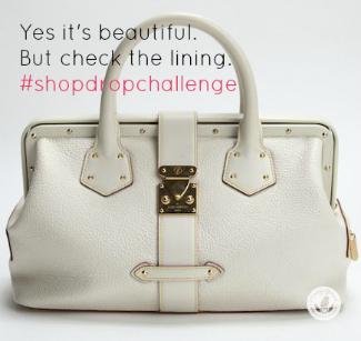 white louis vuitton leather bag against white background