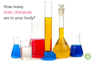beakers filled with colored liquid to represent chemicals