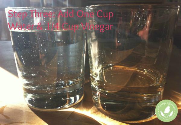 full glass of water with quarter full glass of vinegar against wood background