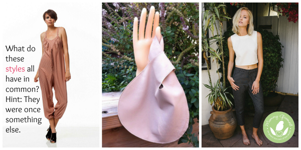 three eco fashion styles in a collage: one pink jumpsuit worn by a model, one white shirt and blue pants worn by a model, one clutch purse on a mannequin hand