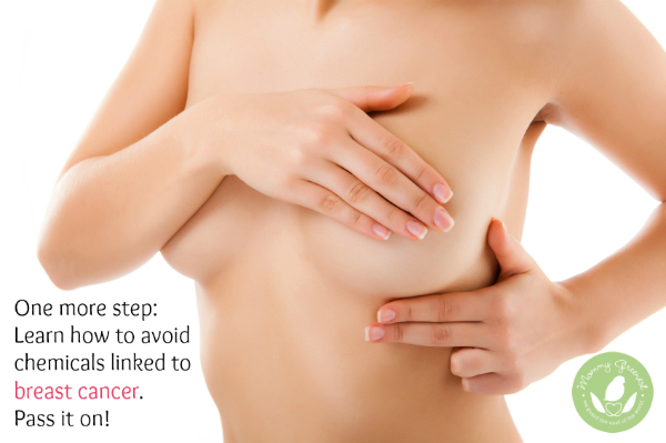 woman self-examining her breasts for breast cancer