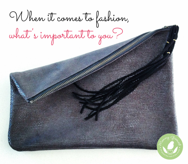 pewter leather clutch against white background