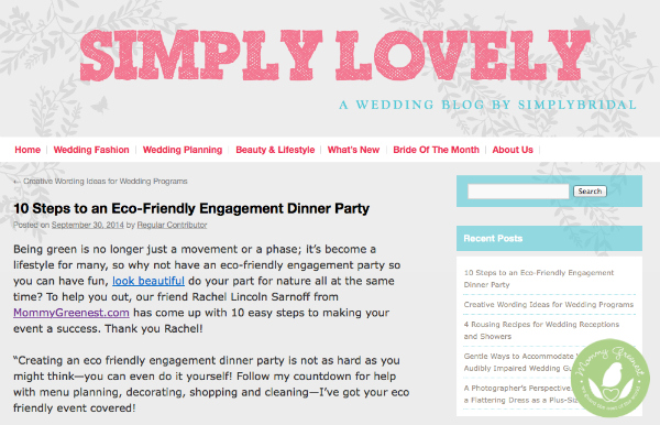 press clip from eco friendly wedding tips from mommy greenest on simply bridal