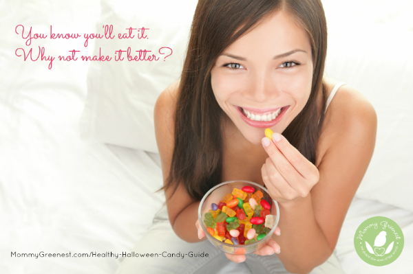 happy girl eats candy