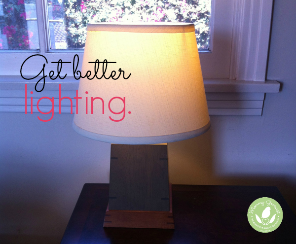 table lamp with LED lightbulb