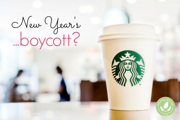 new year's resolution starbucks boycott shows starbucks cup on table