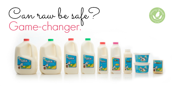 organic raw milk products against white background