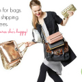 girl holding 10 handbags against white background