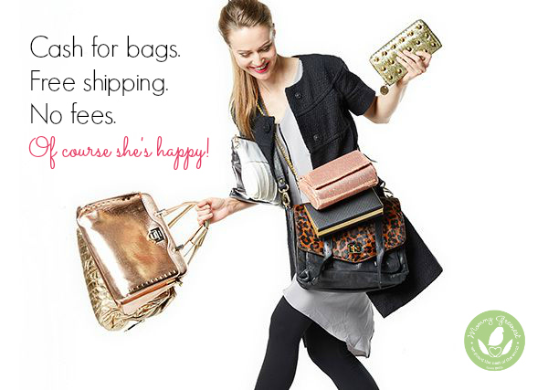 girl holding 10 handbags against white background