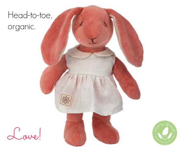 organic Easter pink plush bunny