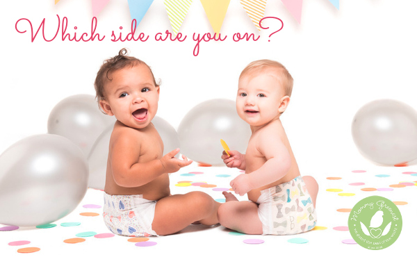 Two babies wearing Honest Company natural disposable diapers in a party setting
