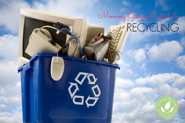 blue bin for green recycling filled with electronics