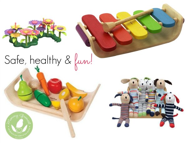 non-toxic holiday toys against white background