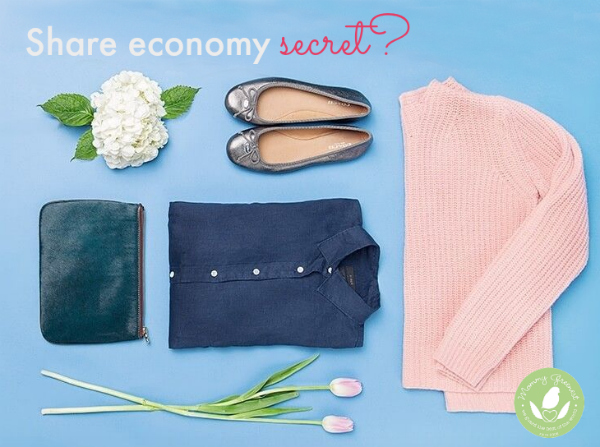 share economy photo of consignment clothing against a blue background