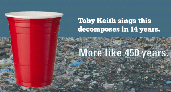 red solo cup made of polystyrene aka Styrofoam on polluted beach