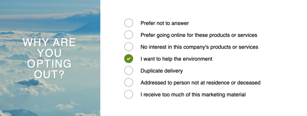 """Stop junk mail: Screen grab of catalogue choice details including menu of options to describe why you are opting out, including """"I want to help the environment"""""""