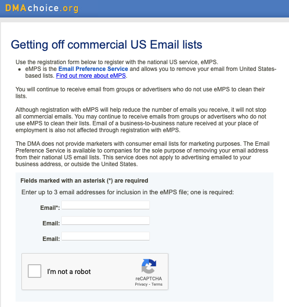 Stop junk mail: Screen grab of fields to fill in with your email addresses to remove them from junk email lists.