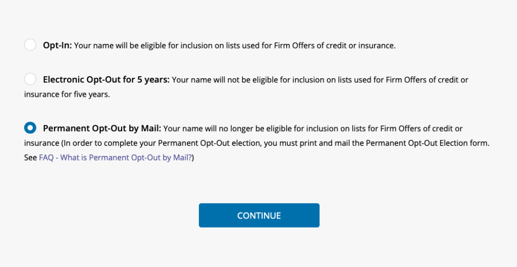 Stop junk mail: Screen grab of opt out options