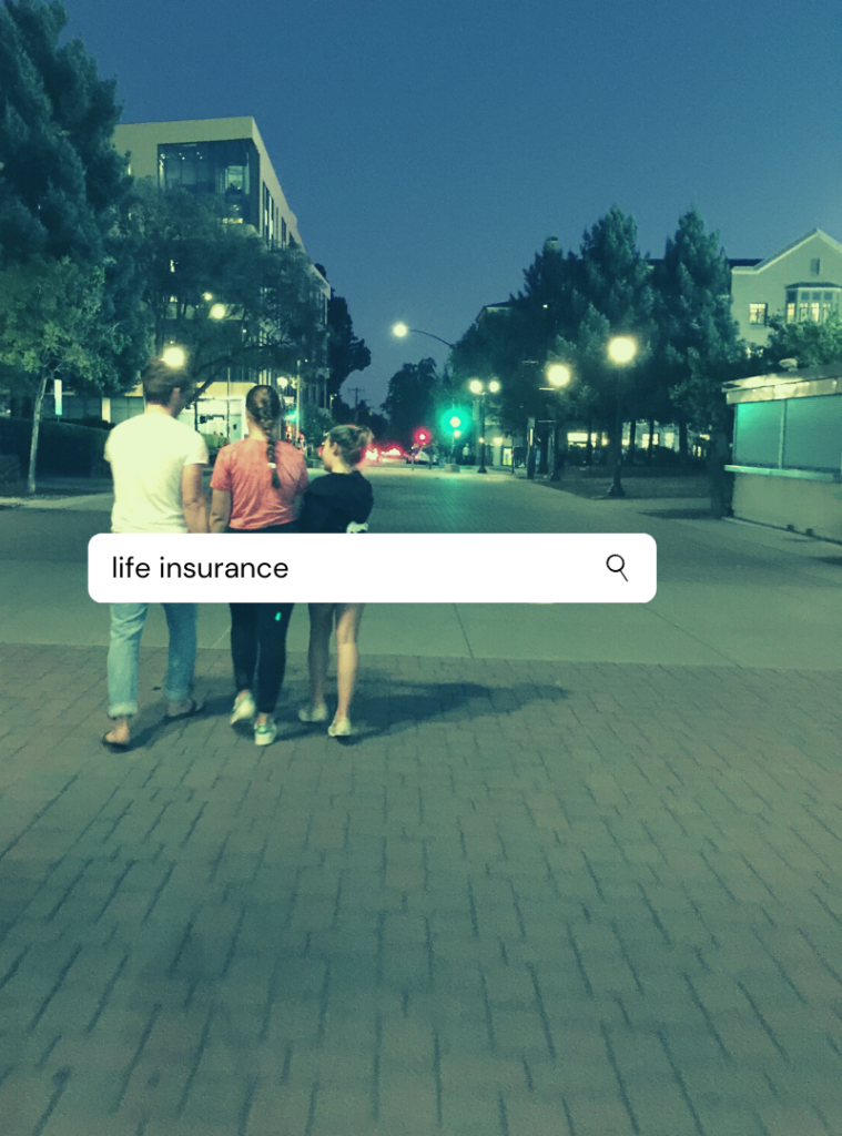 Mommy Greenest image of my three children walking away on a street, to demonstrate why I feel I need life insurance.