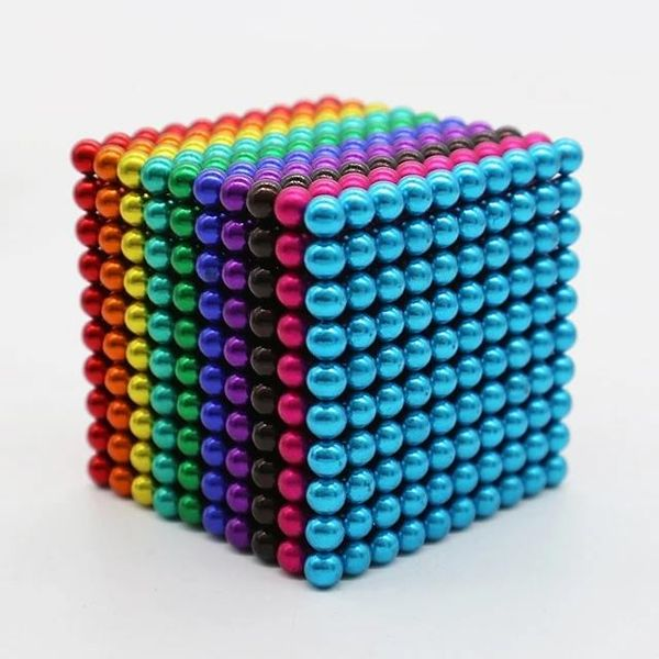 Rainbow square made up of hundreds of tiny magnet ball toys that can separate and kill kids.