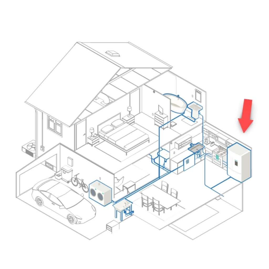 Architectural black and white drawing of two story house with red arrow pointing to the whole house clean water filtration system
